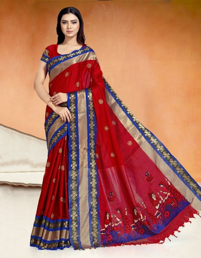 Chaitra Kala Currant Red Cotton Saree