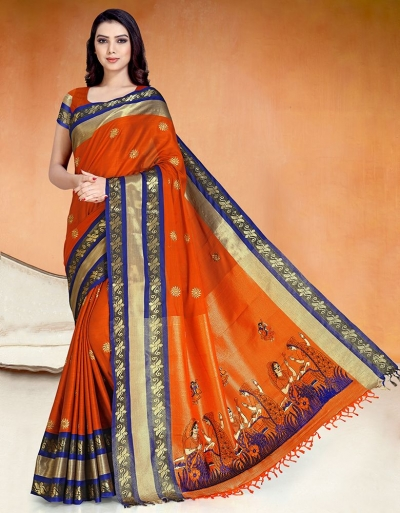 Chaitra Kala Tangy Orange Cotton Saree