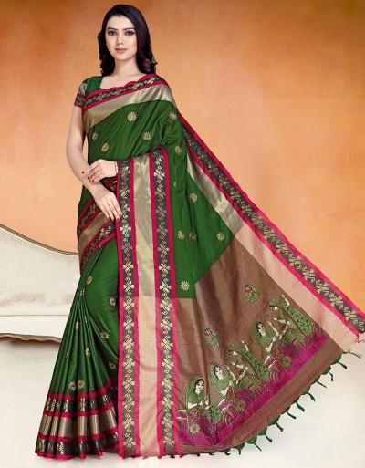 Chaitra Kala Olive Green Cotton Saree