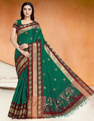 Chaitra Kala Tender Green Cotton Saree
