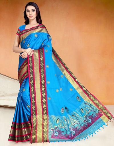 Chaitra Kala Peacock Blue Cotton Saree