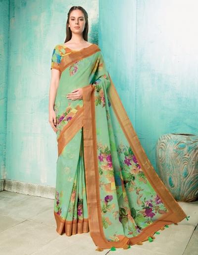 Neisha Light Green Linen Printed Saree