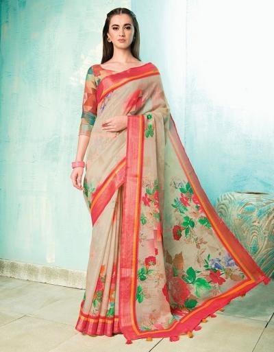 Neisha Duskin Beige Linen Printed Saree