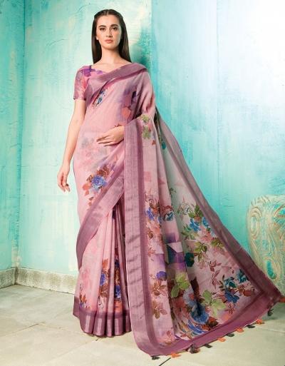 Neisha Thistle Pink Linen Printed Saree