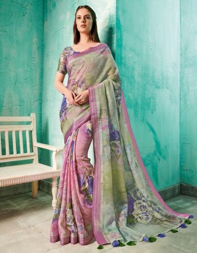 Neisha Fawn Green Linen Printed Saree