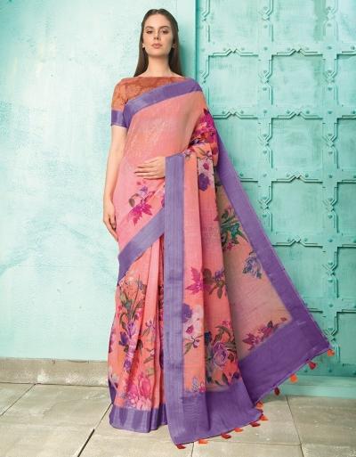 Neisha Fuschia Pink Linen Printed Saree