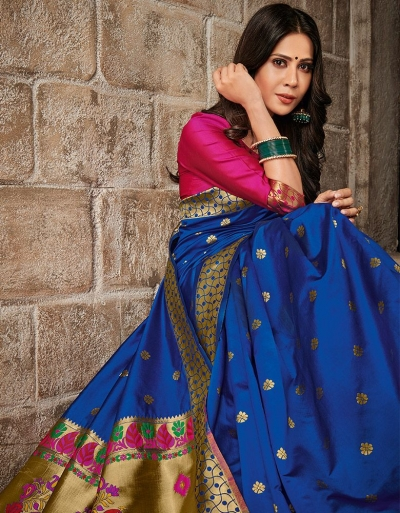 Mayil Weaved Floral Motif Sapphire Blue Saree