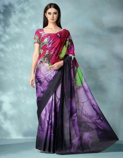 Inara Digital Printed Iris Purple Saree