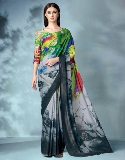 Inara Digital Printed Grey Saree