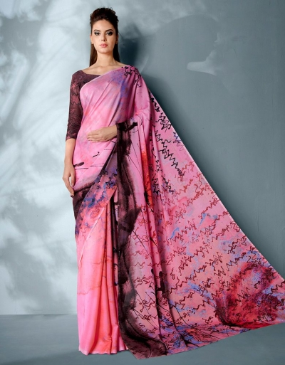 Ziva Digtal Printed Thistle Pink Saree