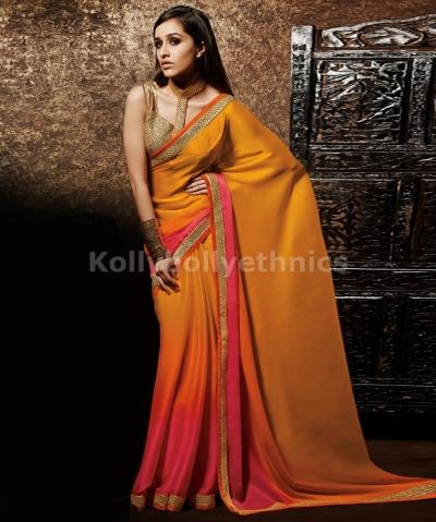 shaded pink and orange shraddha kapoor saree