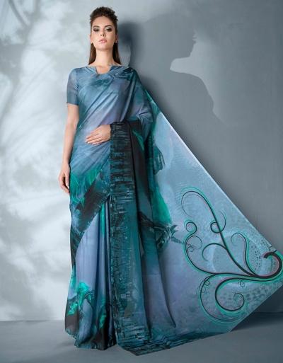 Ziva Digital Printed Aqua Blue Saree