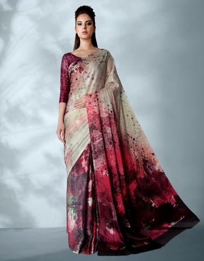 Ziva Digital Printed Current Red Saree Saree