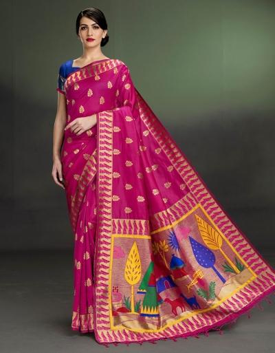 Regal Leaf Motif Rani Pink Saree