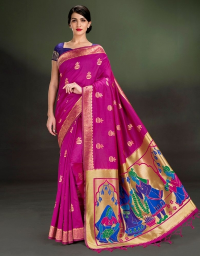 Regal Kalash Motif Rani Pink Saree
