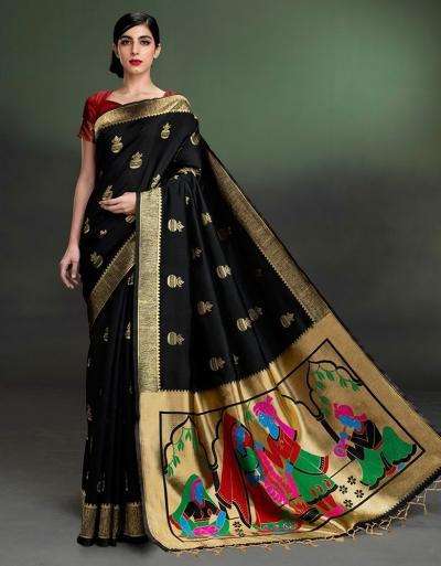 Regal Kalash Motif ONYX Black Saree