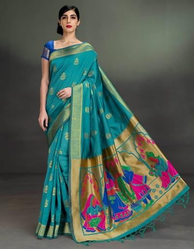 Regal Kalash Motif Turquoise Blue Saree