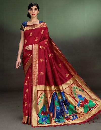 Regal Kalash Motif Currant Red Saree