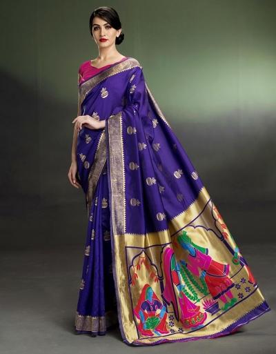 Regal Kalash Motif Royal Blue Saree