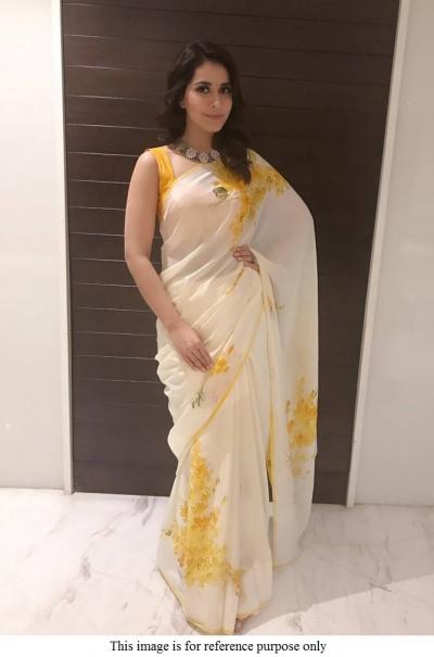 Kollywood Raashi Khanna american crepe white floral saree
