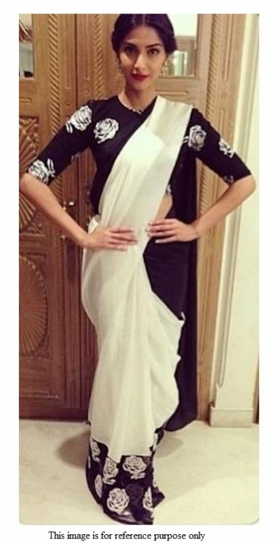 Bollywood Sonam Kapoor Off white and black georgette saree