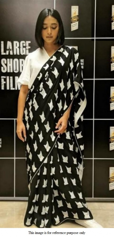 Bollywood Model black and white satin silk print saree
