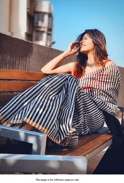Bollywood Model Black stripes chanderi saree