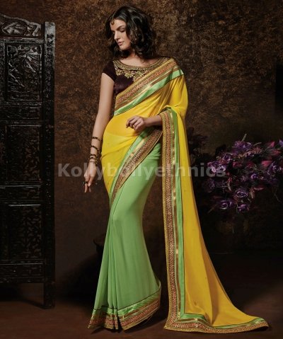 Yellow and green indian wedding saree