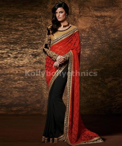 Black and red designer wedding wear saree