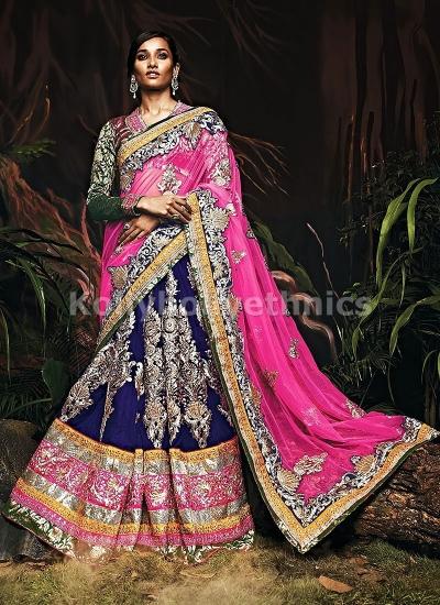 Hot pink and blue bridal lehenga choli