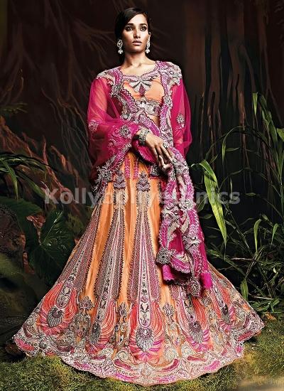 Light orange and magenta bridal lehenga choli