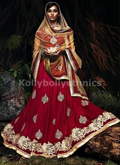 Maroon and brown designer bridal lehenga choli