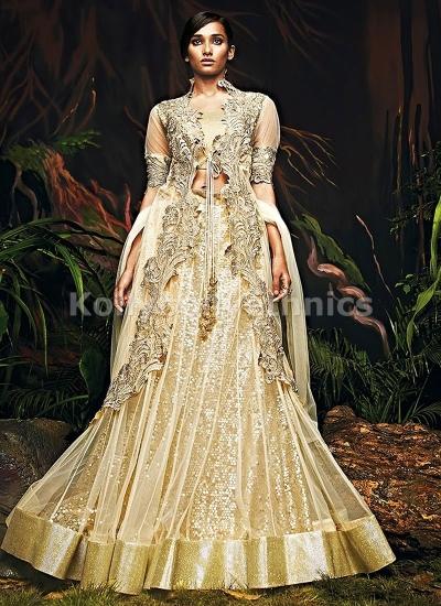 Beige heavy sequins work designer bridal lehenga choli