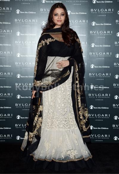 Aishwarya rai white and black long floor length anarkali suit