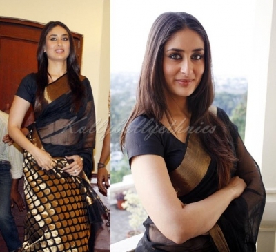 a2279f62b28 Bollywood Style Kareena Kapoor Georgette Saree in Black color