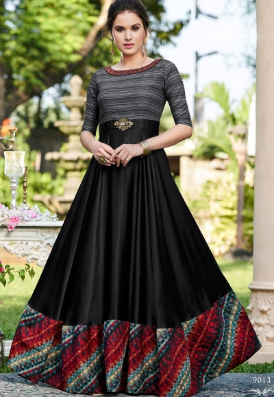 black cotton satin digital printed floor length gown 9013