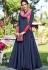 blue silk long party wear gown 9012