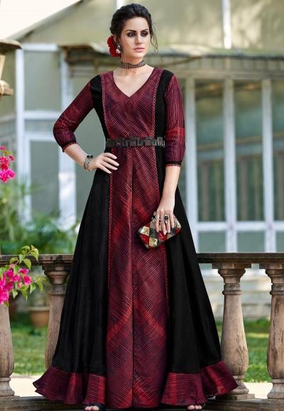 maroon shade silk digital printed long gown 9008