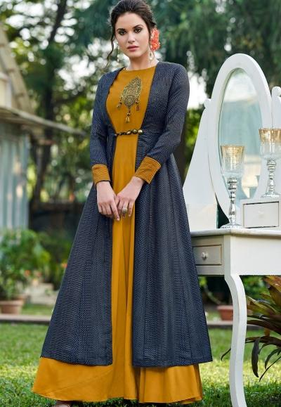 mustard silk party wear long gown 9007