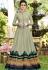 green shade silk digital printed floor length gown 9005