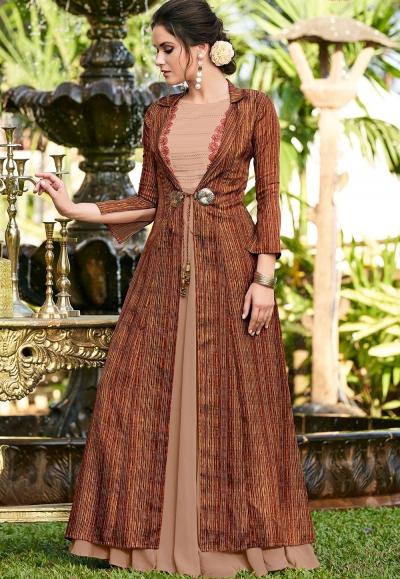 beige linen satin party wear long gown 9003