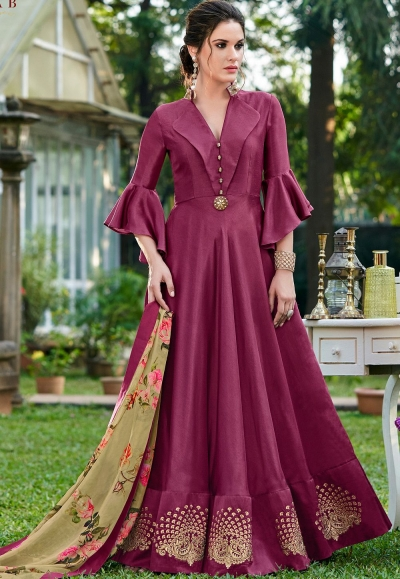 violet silk party wear embroidery floor length gown 9002