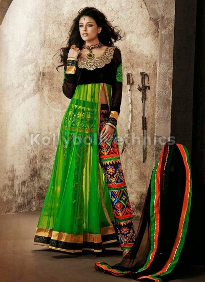 Green Net pant style designer party wear suit
