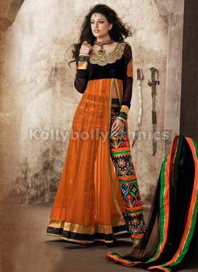 Vibrant Orange Net pant style designer party wear suit