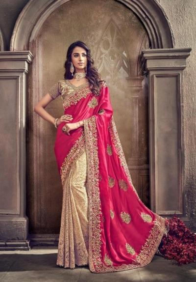 Rani Color satin silk designer party wear saree