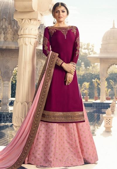 drashti dhami magenta pink satin georgette lehenga style suit 3303
