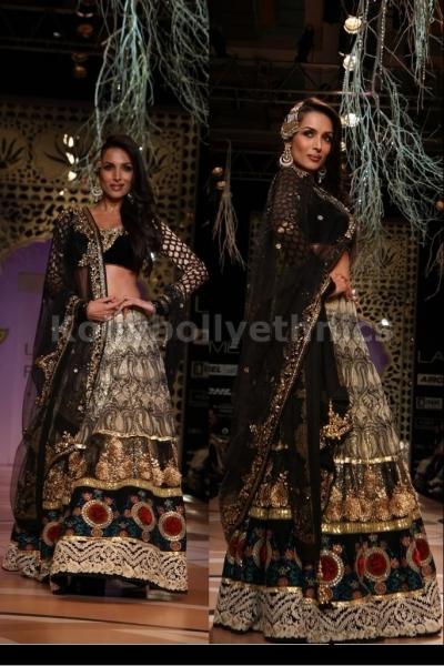 Malaika arora khan black and beige lehenga
