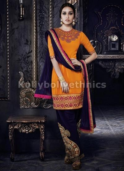 Shraddha Kapoor Yellow and purple suit