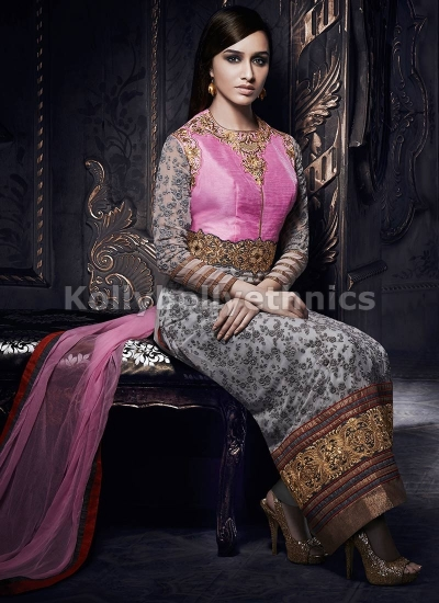Shraddha Kapoor Gray and pink suit