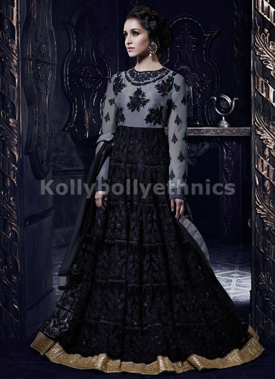 Shraddha Kapoor gray and black anarkali